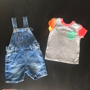 Primark Overall and Cat and Jack shirt